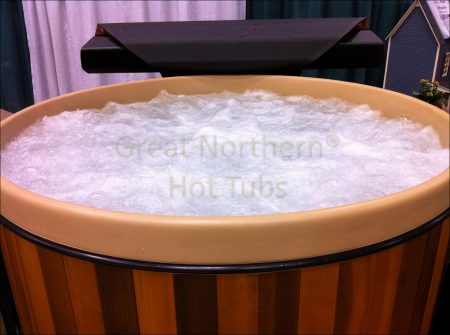 <p>Hot tub with air bubbler turned on producing thousands of tiny bubbles for an all over massage</p>
