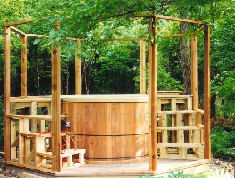 <p>Do-it-yourself gazebo project incorporating a round hot tub and surrounding deck.</p>